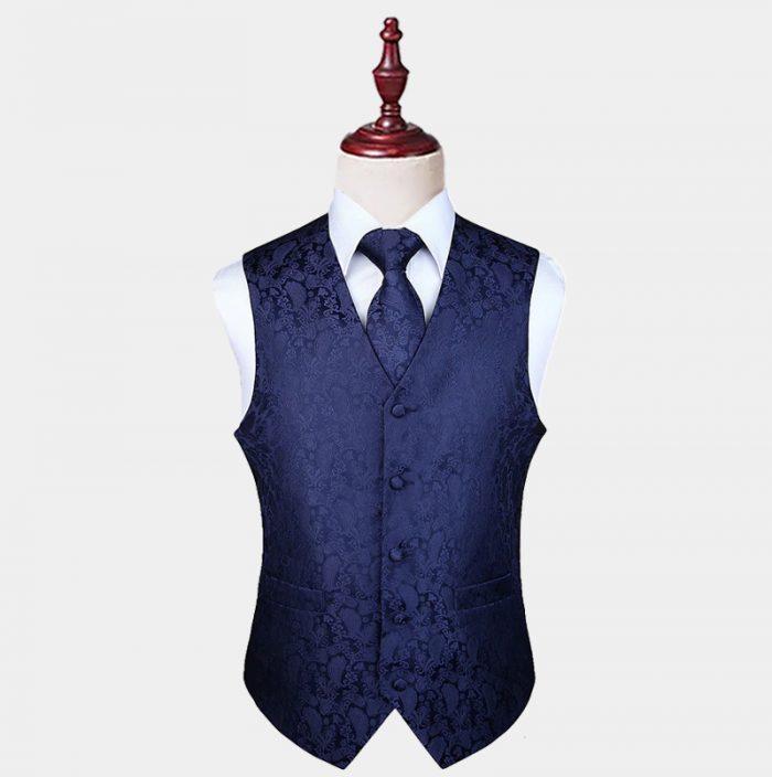 Mens Navy Blue Paisley Waistcoat And Tie Set from Gentlemansguru.com