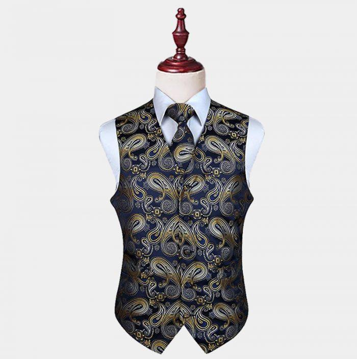 Mens Navy Blue and Gold Paisley Vest Set from Gentlemansguru.com