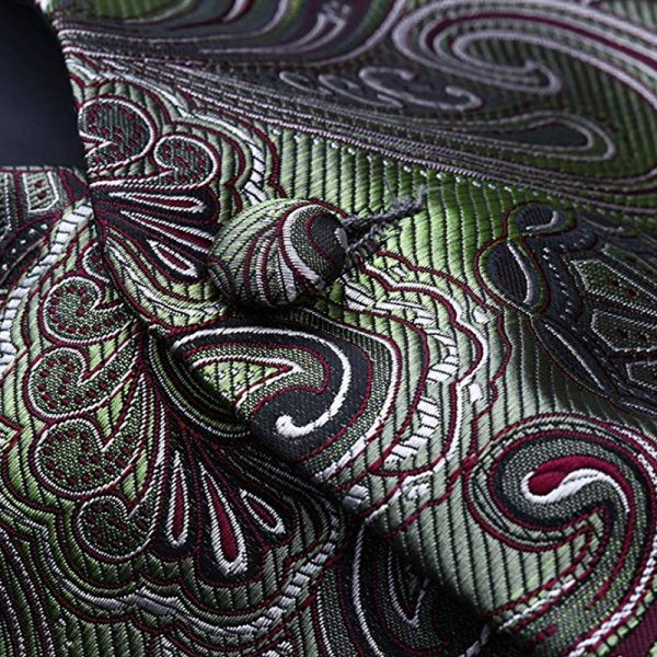 Mens Olive Green Paisley Vest And Tie set Groom-Wedding-Tuxedo from Gentlemansguru.com