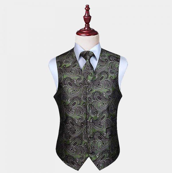 Mens Olive Green Paisley Vest And Tie set from Gentlemansguru.com