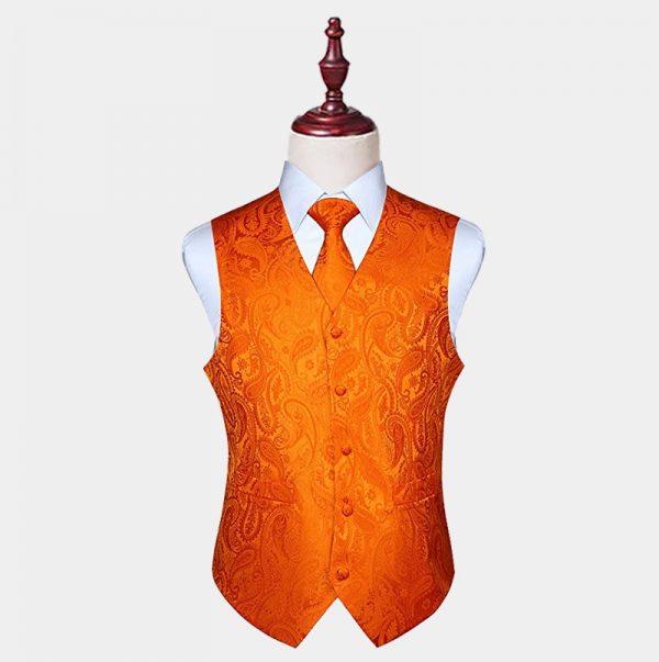 Mens Orange Paisley Vest And Tie Set from Gentlemansguru.com