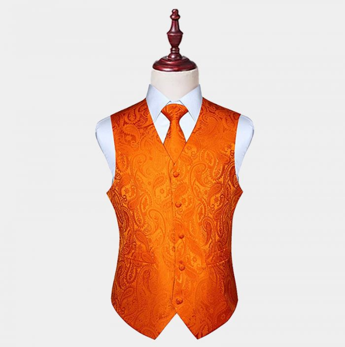 Mens Orange Paisley Vest And Tie Set from Gentlemansguru.com