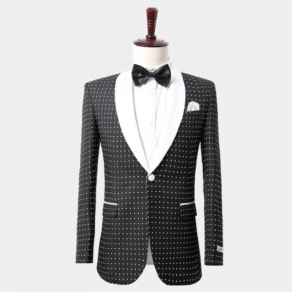 Mens Polka Dot Suit With White Trim Shawl Lapel from Gentlemansguru.com