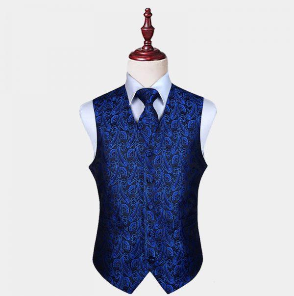 Mens Royal Blue And Black Paisley Vest And Tie Set from Gentlemansguru.com