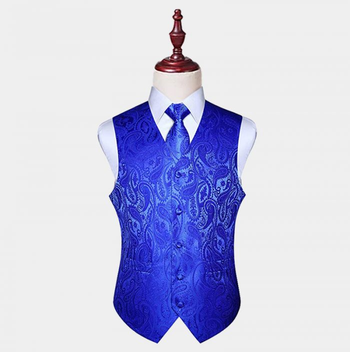 Mens Royal Blue Paisley Vest And Tie Set from Gentlemansguru.com