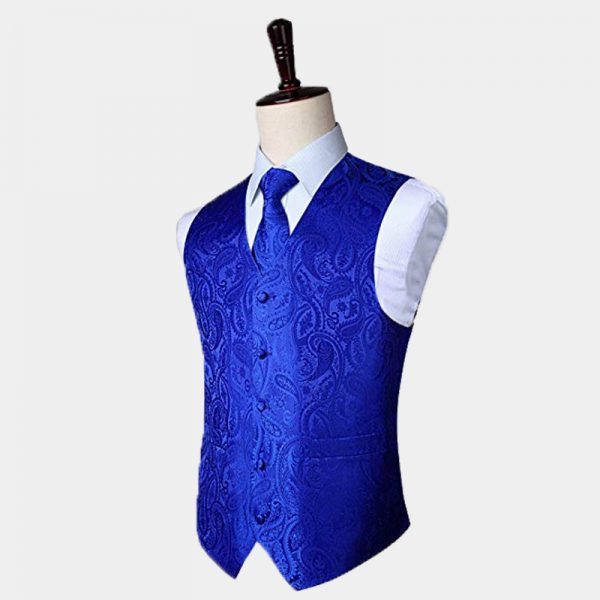 Mens Royal Blue Paisley Waistcoat And Tie Set from Gentlemansguru.com