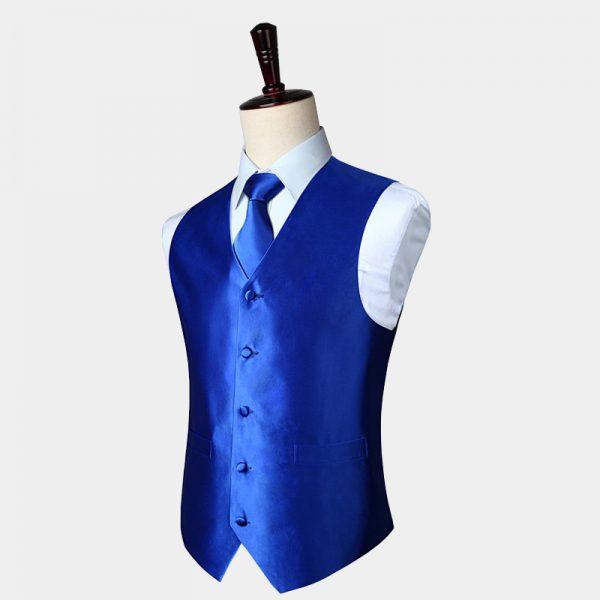 Mens Royal Blue Waistcoat And Tie Set from Gentlemansguru.com