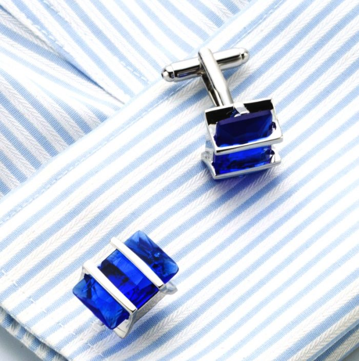 Mens Sapphire Blue Cufflinks Set Cuff Shirt For Men from Gentlemansguru.com