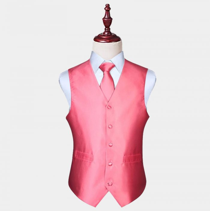Mens Silk Blush Pink Vest And Tie Set from Gentlemansguru.com