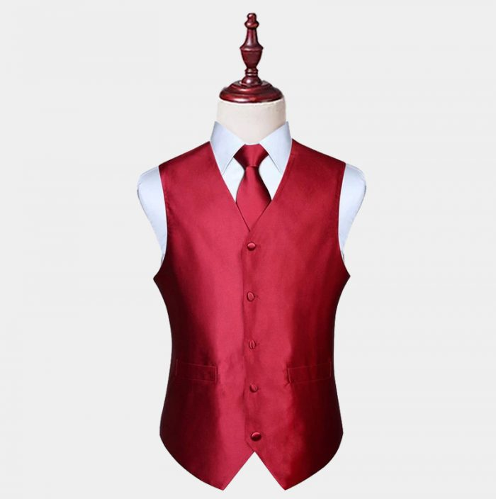 Mens Silk Burgundy Vest And Tie Set from Gentlemansguru.com
