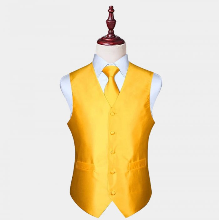 Mens Silk Gold Vest And Tie Set from Gentlemansguru.com