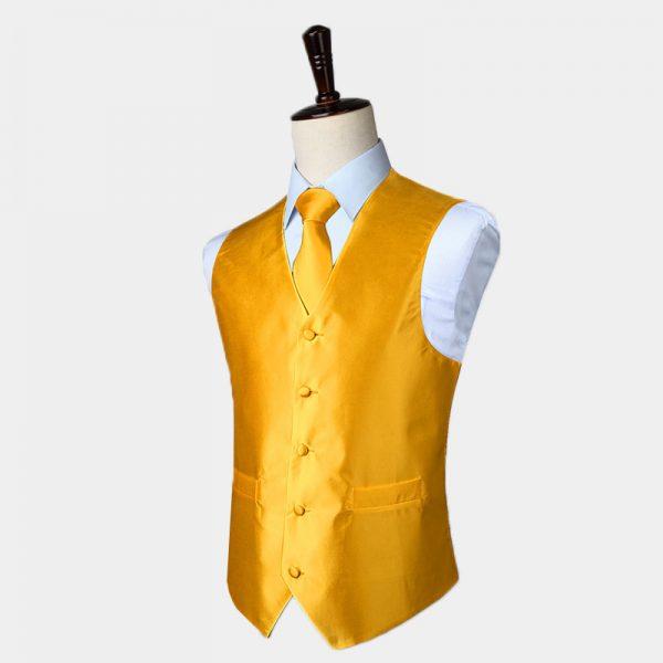 Mens Silk Gold Waistcoat And Tie Set from Gentlemansguru.com