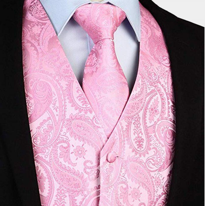 Mens Silk Light Pink Tie Vest And Pocket Square from Gentlemansguru.com