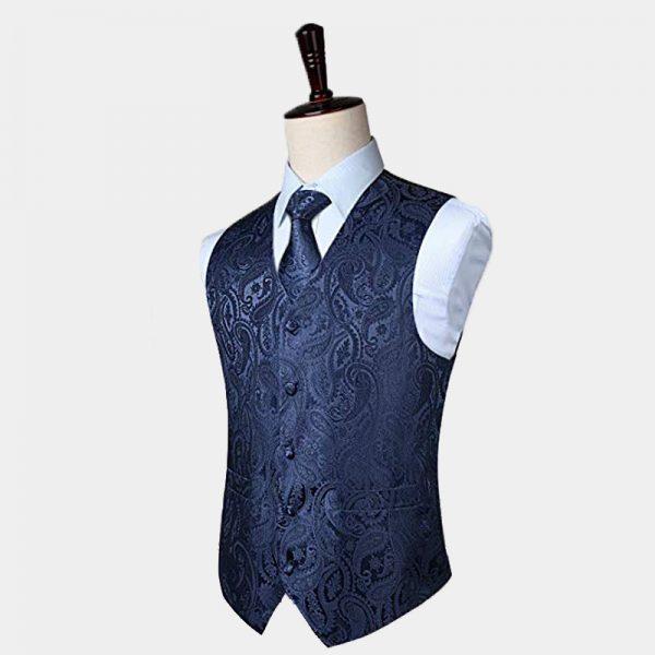 Mens Silk Navy Blue Paisley Vest And Tie Set from Gentlemansguru.com