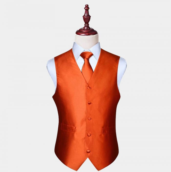 Mens Silk Orange Vest And Tie Set from Gentlemansguru.com
