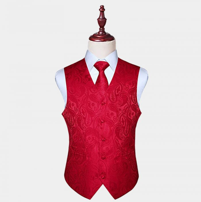 Mens Silk Red Paisley Vest And Tie Set from Gentlemansguru.com