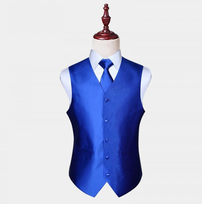 Mens Silk Royal Blue Vest And Tie Set from Gentlemansguru.com