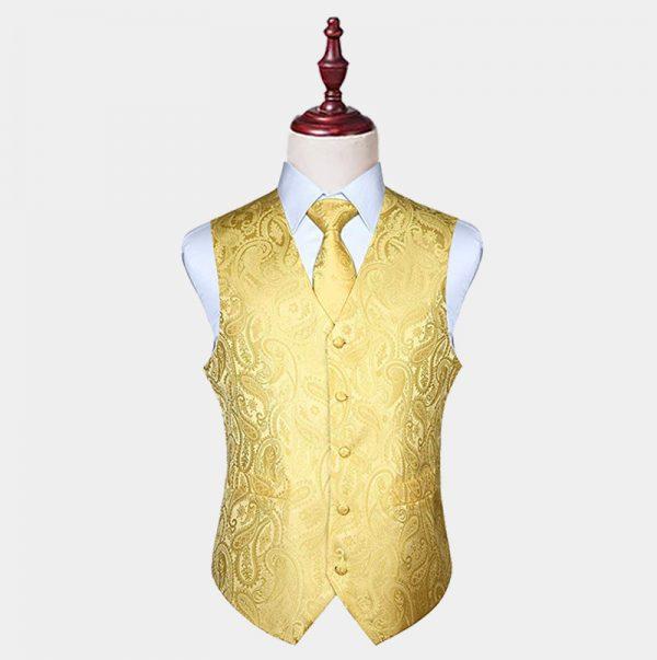 Mens Silk Yellow Paisley Vest And Tie Set from Gentlemansguru.com
