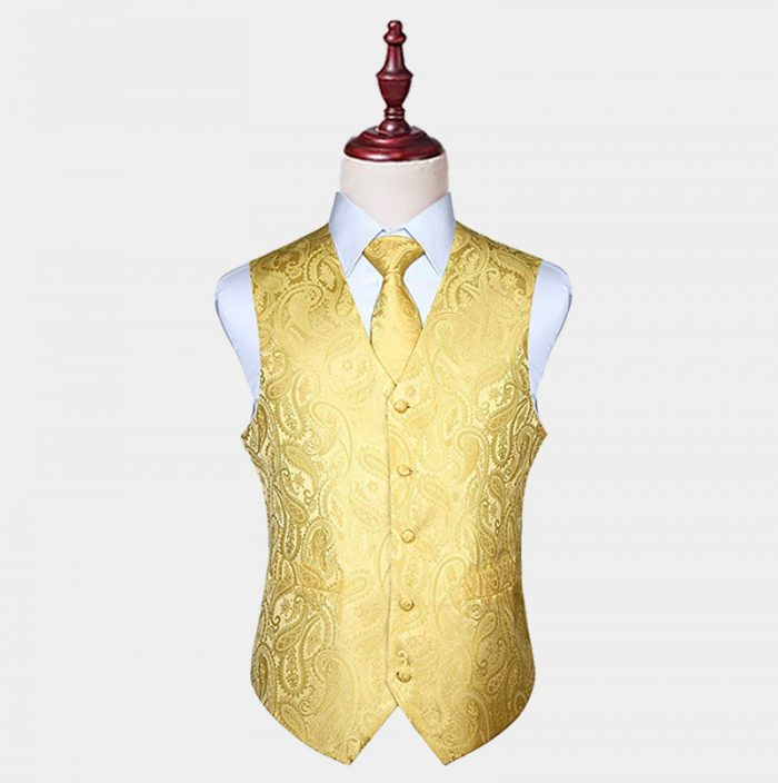 Mens Silk Yellow Paisley Vest And Tie Set from Gentlemansguru.com