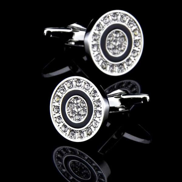 Mens Silver Plated Round Silver Enamel Cufflinks from Gentlemansguru.com
