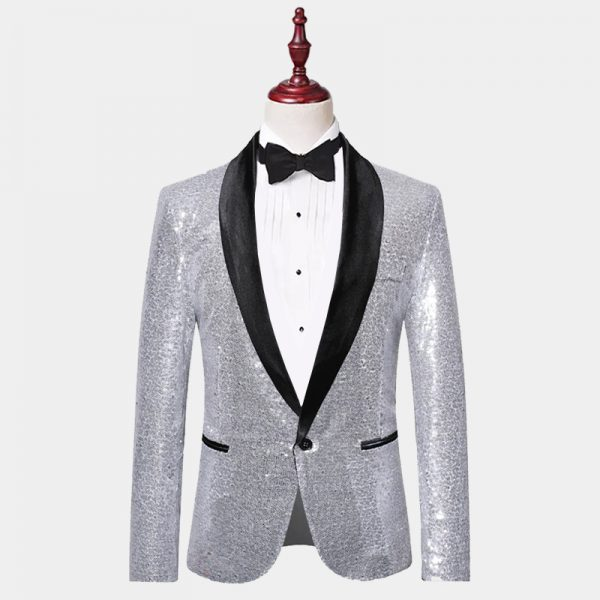 Mens Silver Sequin Blazer Jacket from Gentlemansguru.com