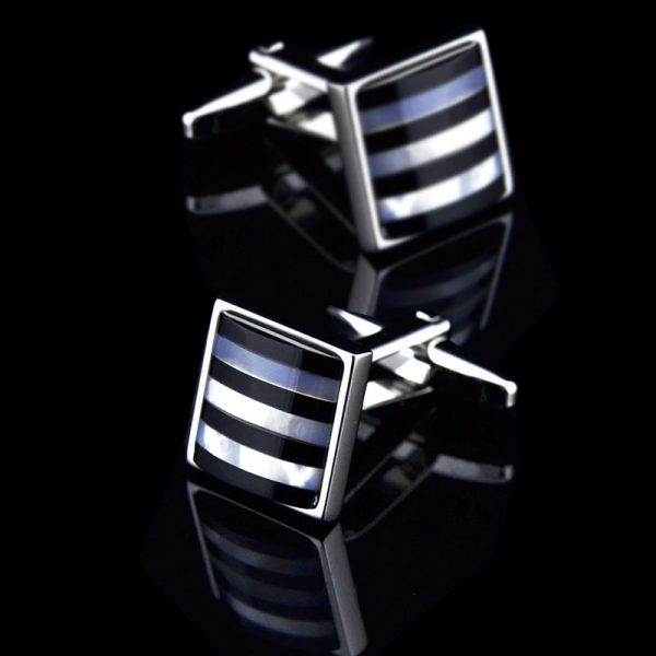 Mens Silver and Black Onyx Cufflinks from Gentlemansguru.com