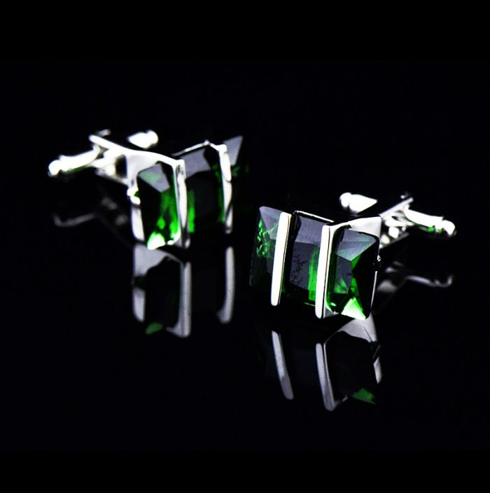 Mens Silver and Green Cufflinks Set With Large Greenstone Crystal from Gentlemansguru.com