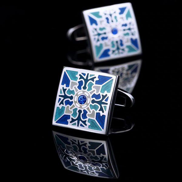 Mens Vintage Blue Enamel Cufflinks Set from Gentlemansguru.com