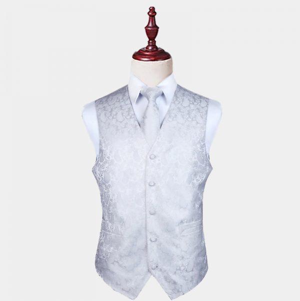 Mens White Paisley Waistcoat And Tie Set from Gentlemansguru.com