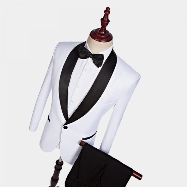 Mens White Tuxedo JAcket With Black Pants -Wedding-Prom from Gentlemansguru.com