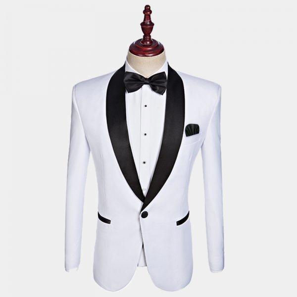 Mens White Tuxedo Jacket With Black Pant Trim For Wedding-Prom-Groom from Gentlemansguru.com