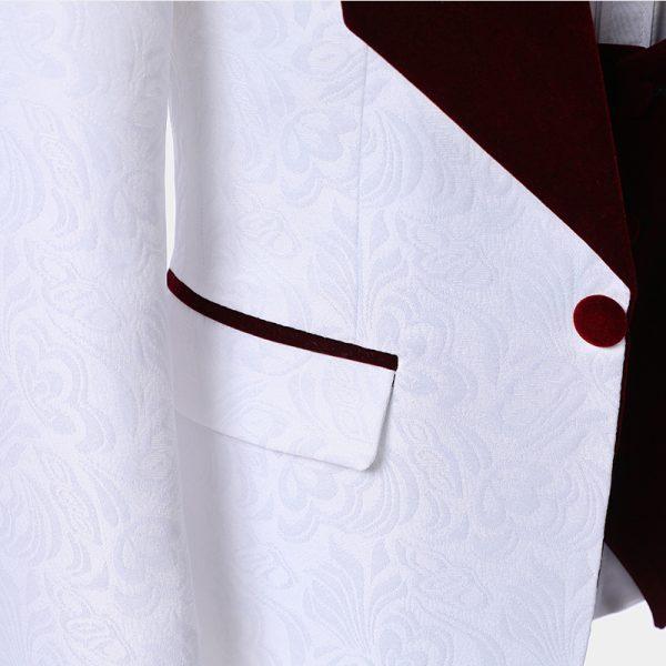 Mens White Tuxedo With Burgundy Vest And Button from Gentlemansguru.com