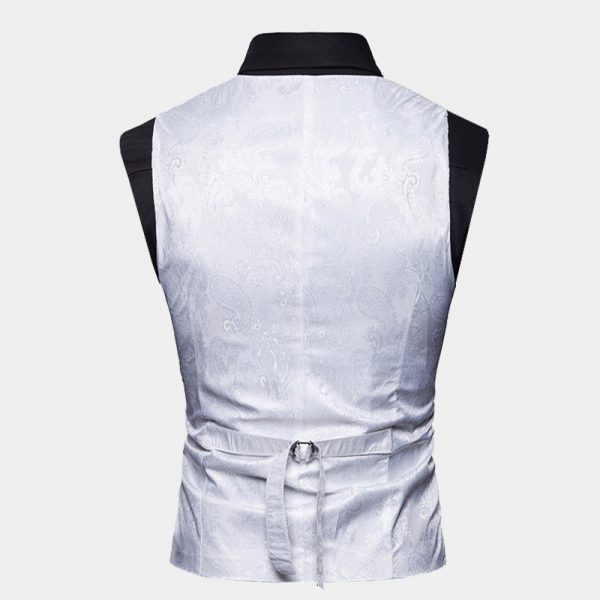 Mens White paisley Double Breasted Waistcoat from Gentlemansguru.com