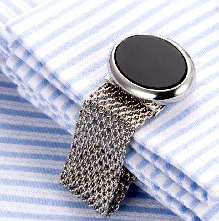 Mesh Silver Wrap Around Cufflinks Set from Gentlemansguru.com