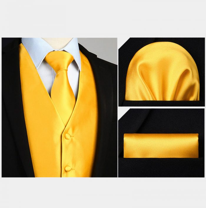 Metalic Gold Vest And Tie Set With Pokcet Square from Gentlemansguru.com