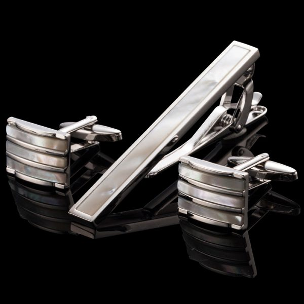 Mother Of Pearl Cufflinks And Tie Clip-Bar Set from Gentlemansguru.com