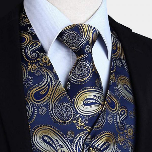 Navy Blue And Gold Paisley Vest And Tie Set from Gentlemansguru.com