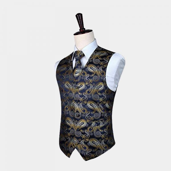 Navy Blue And Gold Paisley Waistcoat For Men from Gentlemansguru.com