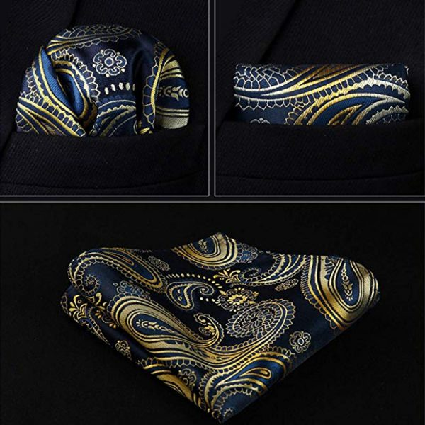 Navy Blue And Gold pocket Square With Tie And Vest For Men -Wedding-Groom-Prom from Gentlemansguru.com