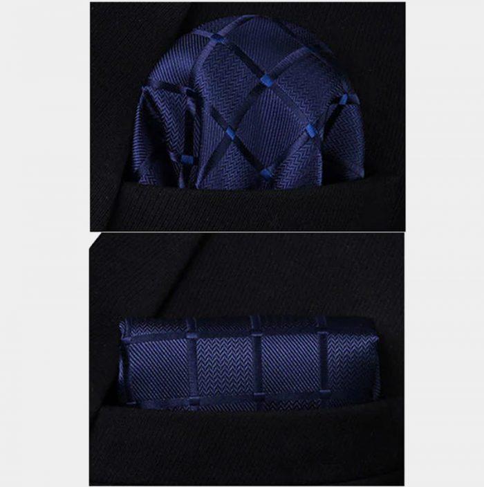 Navy Blue Checkered Pocket Square With Vest And Necktie Set from Gentlemansguru.com