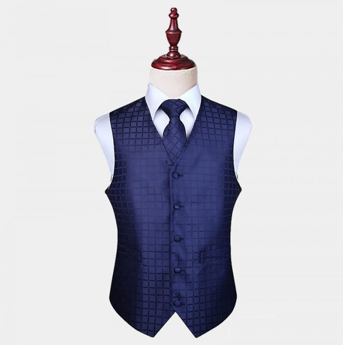 Navy Blue Checkered Vest And Tie Set from Gentlemansguru.com