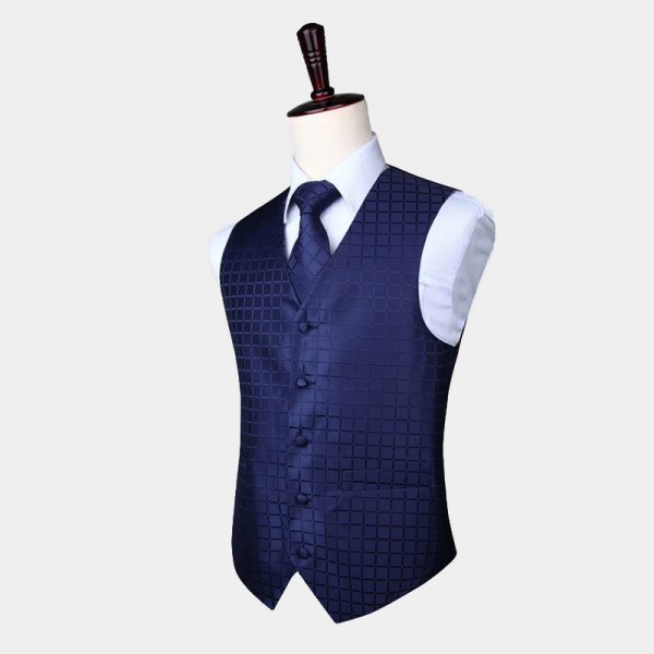 Navy Blue Checkered Waistcoat And Tie Set from Gentlemansguru.com