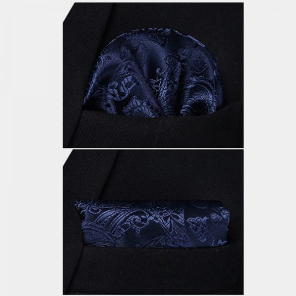 Navy Blue Paisley Pocket Square For Wedding With Necktie And Waistcoat from Gentlemansguru.com