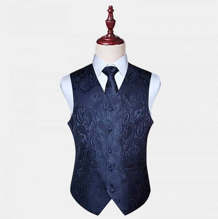 Navy Blue Paisley Vest And Tie Set from Gentlemansguru.com