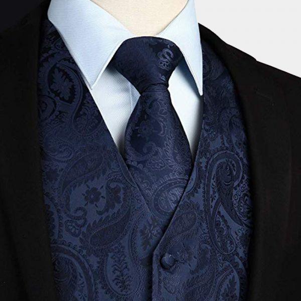 Navy Blue Paisley Waistcoat And Tie Set from Gentlemansguru.com