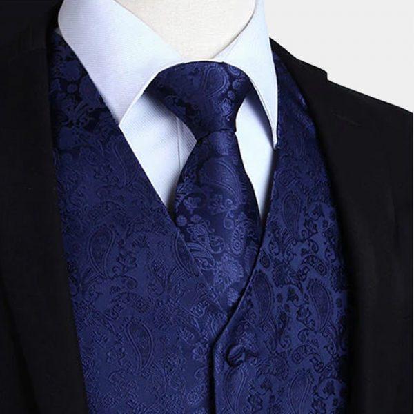 Navy Blue Paisley Waistcoat For Men Wedding Waistcoat Vest Paisley Design from Gentlemansguru.com