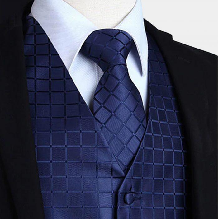 Navy Blue Tuxedo Vest And Tie Set from Gentlemansguru.com