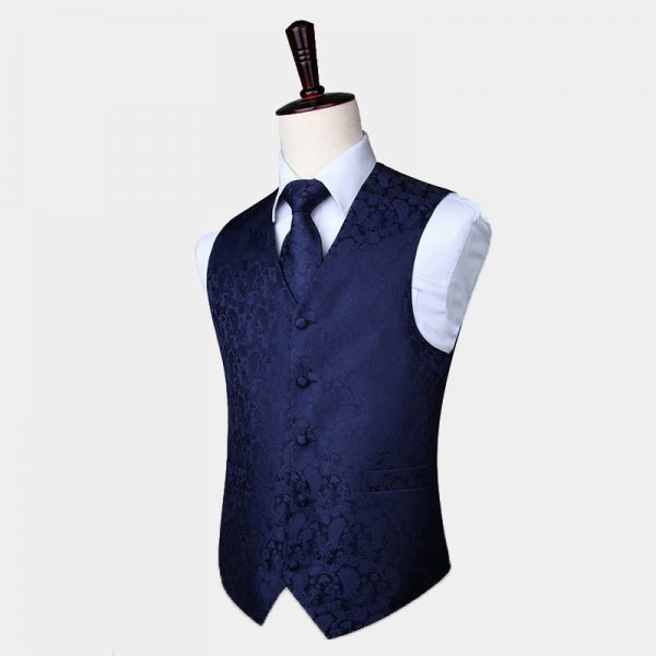 Navy Blue Tuxedo Vest Paisley Waistcoat For Men Groom-Wedding from Gentlemansguru.com
