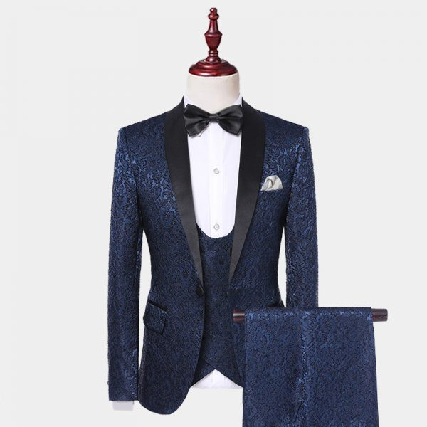 Navy Blue Tuxedo With Black Lapel In Satin from Gentlemansguru.com