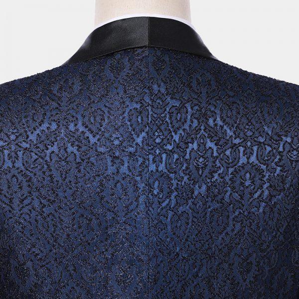 Navy Blue Vintage Pattern Tuxedo Suit FOr PRom Or Wedding from Gentlemansguru.com